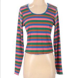 NWT Self Esteem Colorful Striped Long Sleeve Top L